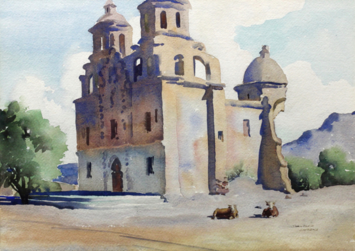 Stanford Stevens, Caborca Mission, Sonora, Mexico, 1948 watercolor, 35 x 53 in. Tucson Museum of Art. Gift of Mrs. Stanford Stevens. 1975.25