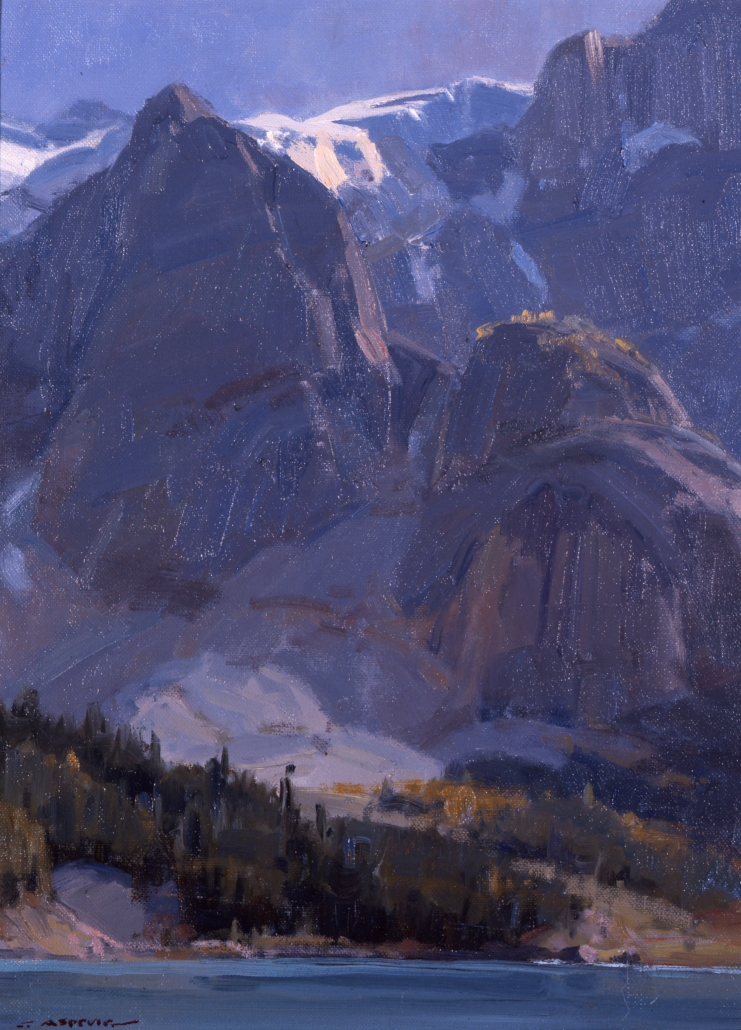 Clyde Aspevig, Hanging Glaciers – Canada, 1992 oil on canvas board, 15.875 x 11.75 in. Tucson Museum of Art. Virginia Johnson Fund. 1992.399