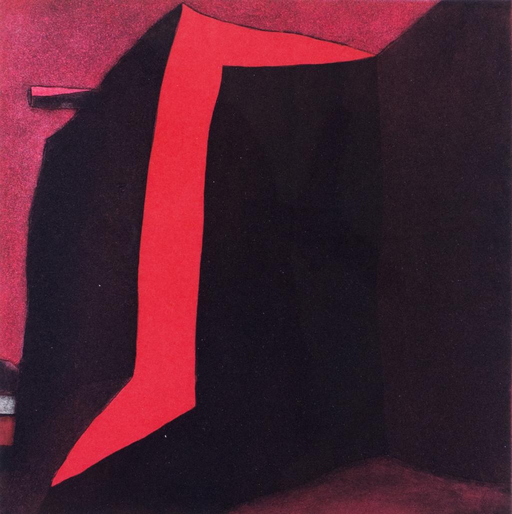 Harold Joe Waldrum, Las sombras de la iglesia de San José de Gracia en Las Trampas, 1983-1985 aquatint etching, III/IX, 20 x 20 in. Tucson Museum of Art. Gift of the Artist. 2000.71.2