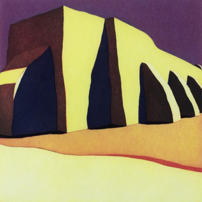 Harold Joe Waldrum, Las sombras de la iglesia del pueblo de San Ildefonso, 1983-1985 aquatint etching, III/IX, 20 x 20 in. Tucson Museum of Art. Gift of the Artist. 2000.71.7