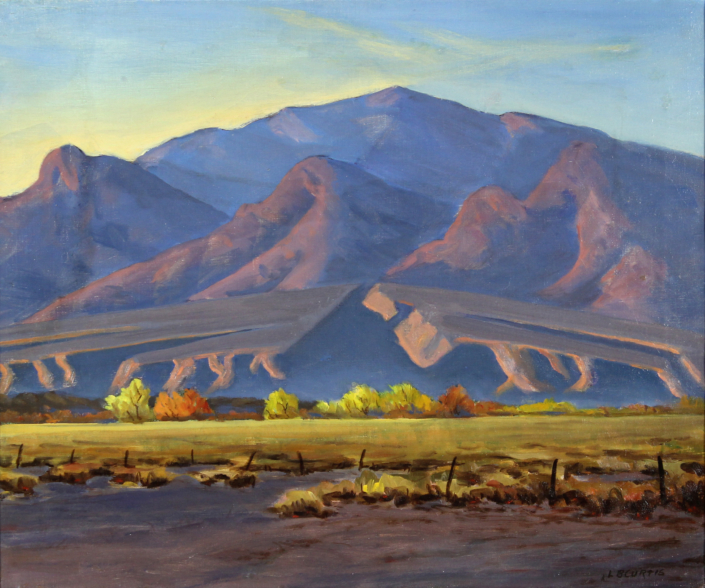 Lavaun (L.B.) Curtis, Graham Mountain from Central Arizona, c. 1930 oil on canvas, 20.25 x 24 in. Tucson Museum of Art. Gift of Hilda and Don Dickerman through Exchange. 2008.8.1