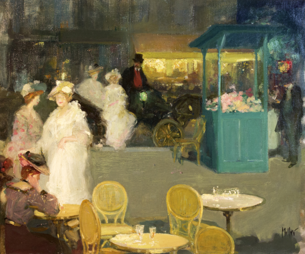 Richard E. Miller, Femmes Elegants dans la rue, Paris (Elegant Ladies on Paris Boulevard), 1889-1906 oil on canvas, 18.25 x 21.5 in. Tucson Museum of Art. Gift in memory of Jean L. Hoffman. 2010.31.1