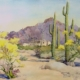"Norma Basset Hall, Arizona Landscape, c. 1949, watercolor, 17.75"" x 24"", from the Tucson Museum of Art Collection."