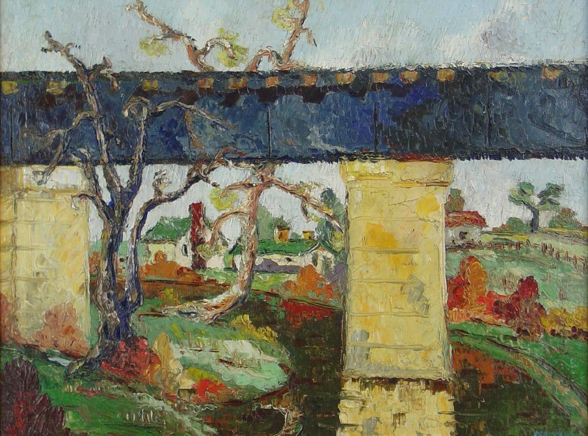 "Freda Macadam Chambers The Bridge, 1932 Oil on canvas, 20.5"" x 26.5"" Gift of Dan Leach"