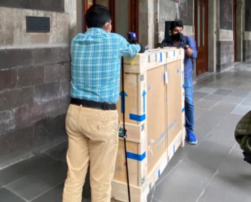 A crate with TMA artworks in the building of the Secretaria de Educación Pública in downtown Mexico City
